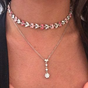 Jewelry - Sliver and pink leaf choker.